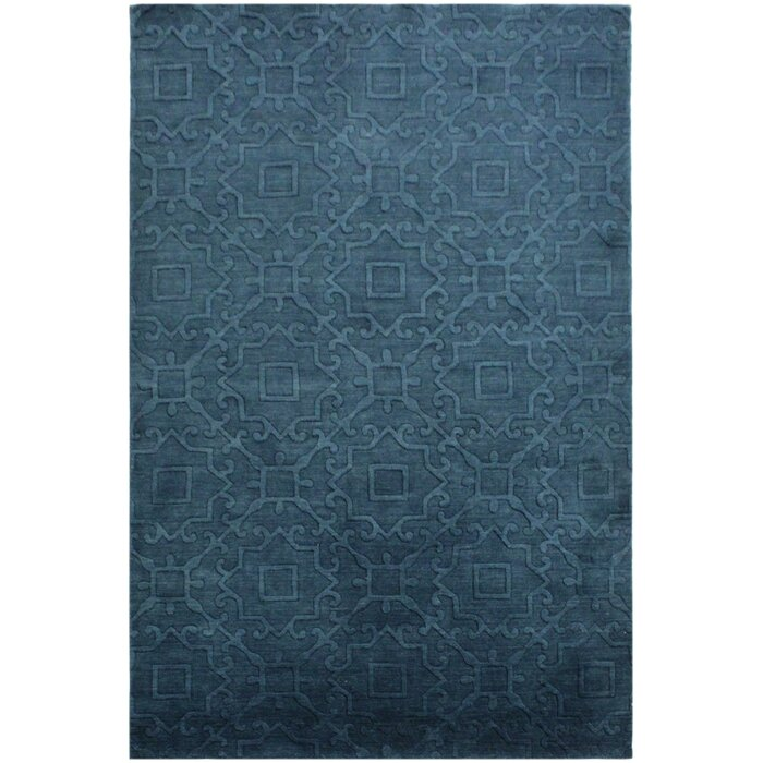 One Of A Kind Ferland Hand Knotted Wool Coral Blue Area Rug
