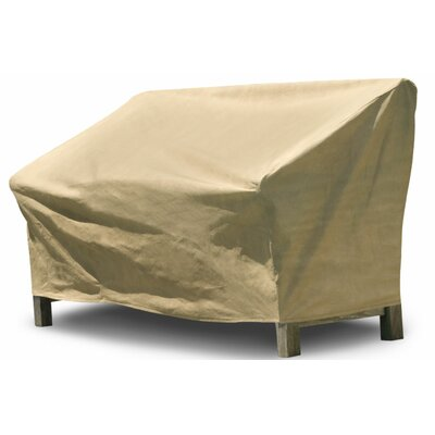 Freeport Park Aaden Outdoor Loveseat Cover Color: Tan, Size: 35 H x 58 W x 38 D, Material: Polyester