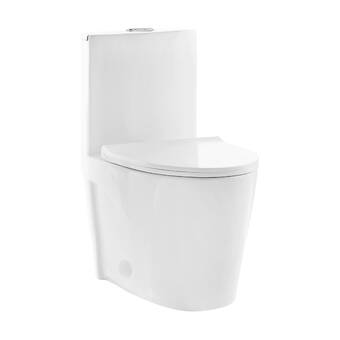 Stormon Dual Flush Round Wall Mount Toilet With Soft Close Seat Tank Carrier System And Push Button Allmodern