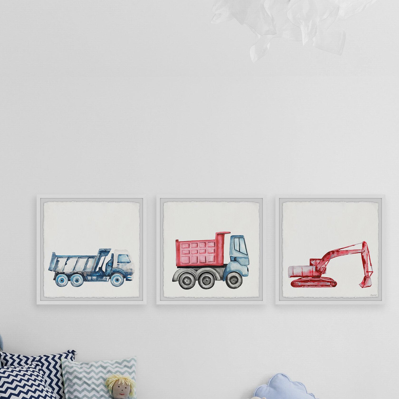 Isabelle Max Okeefe Excavator And Truck 3 Piece Framed Art Set Wayfair