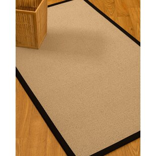Clearance Chea Border Hand-Woven Wool Beige/Black Area Rug ByRosecliff Heights