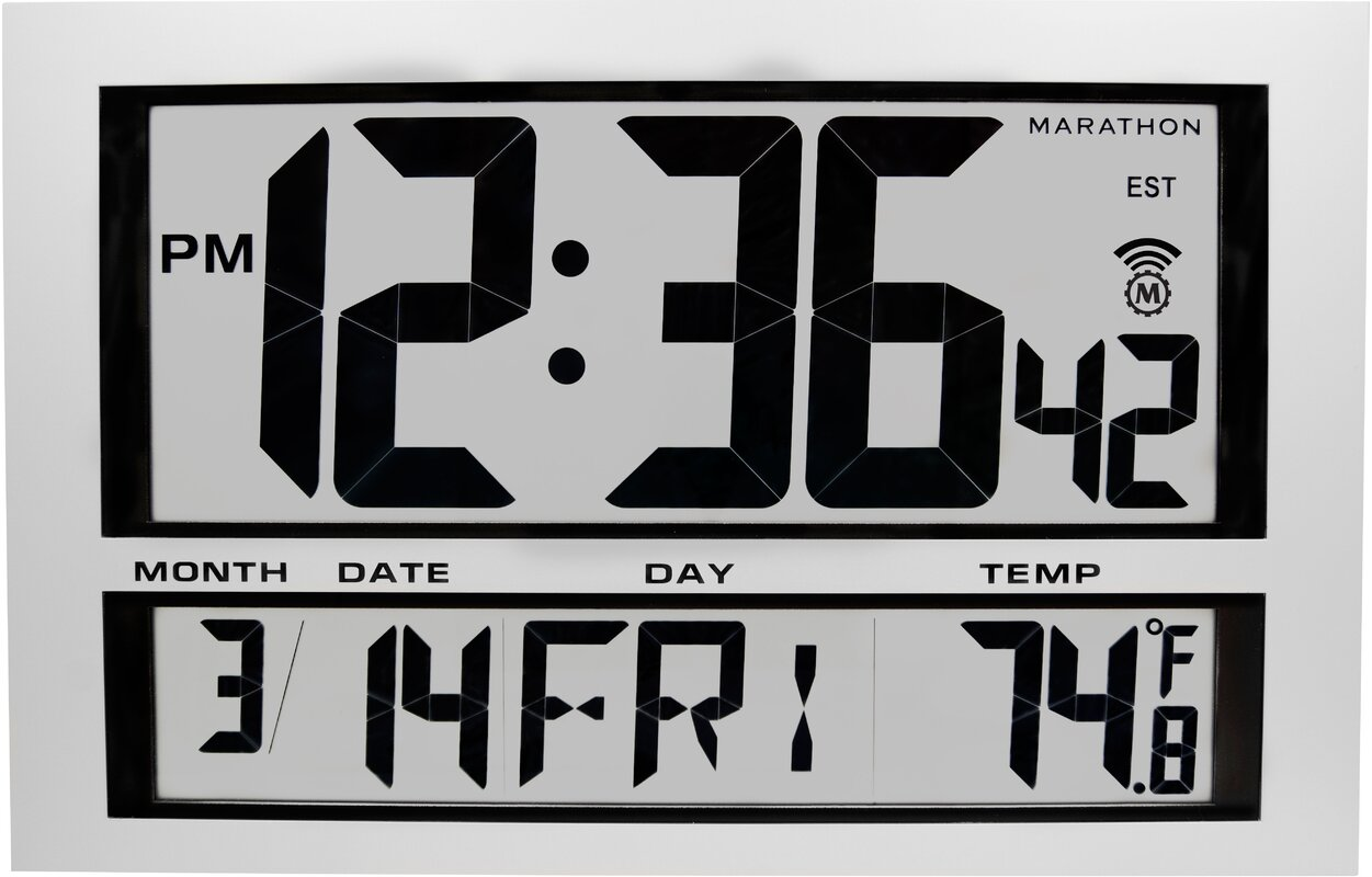 Wall clock with date and day marathon watch company commercial grade jumbo atomic wall clock amipublicfo Gallery