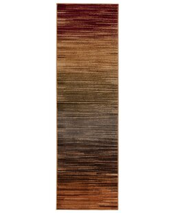 Margret Machine Woven Brown/Green/Burgundy Area Rug