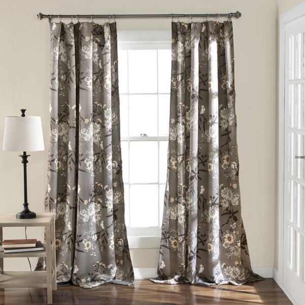 Birch LaneTM Chapin Nature Floral Room Darkening Curtain Panel Pair Reviews