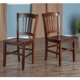 Nev Solid Wood Ladder Back Side Chair in Walnut (Set of 2) by Red Barrel Studio®