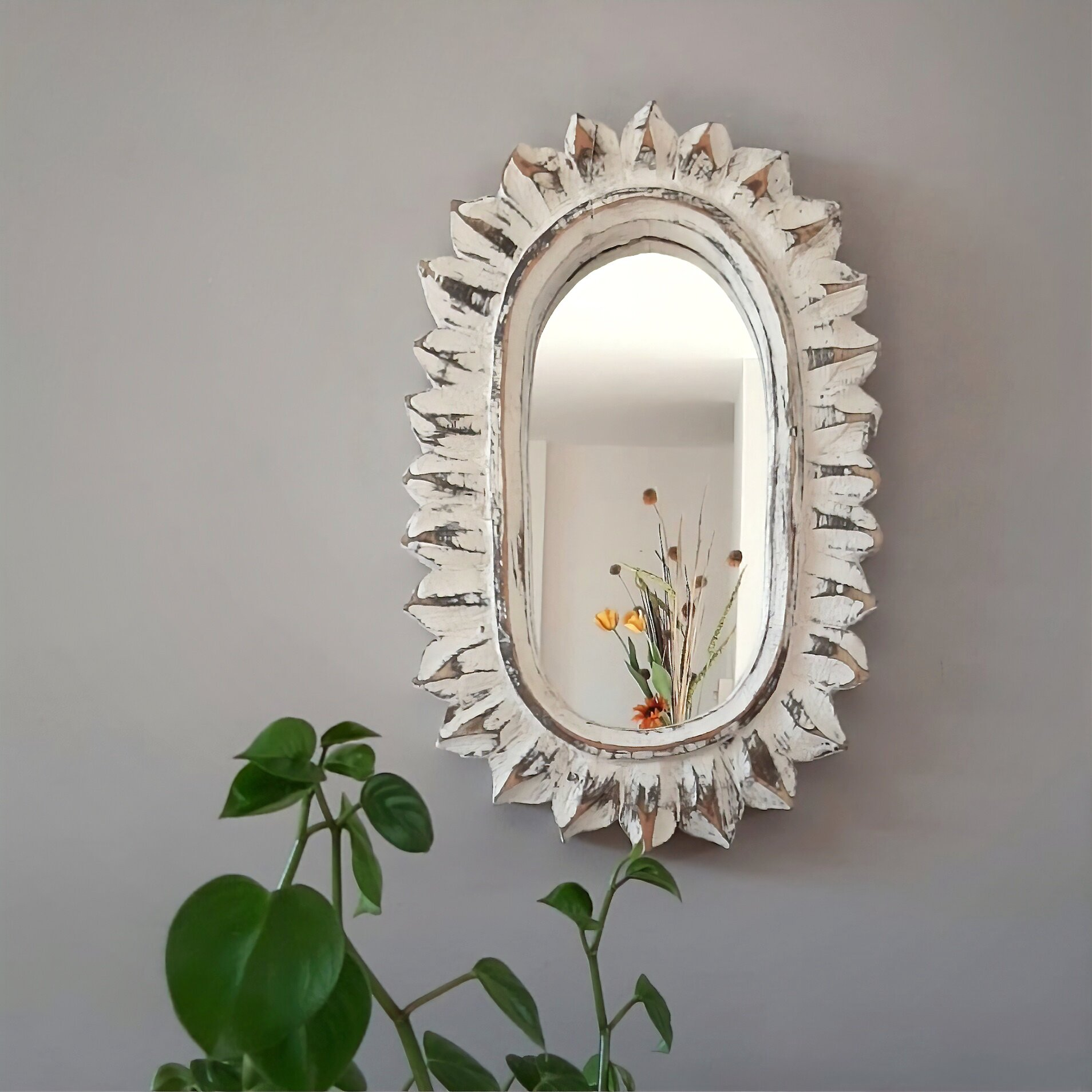 August Grove Bahr Carved Wood Oval Sun Cottage Americana Accent Mirror Reviews Wayfair