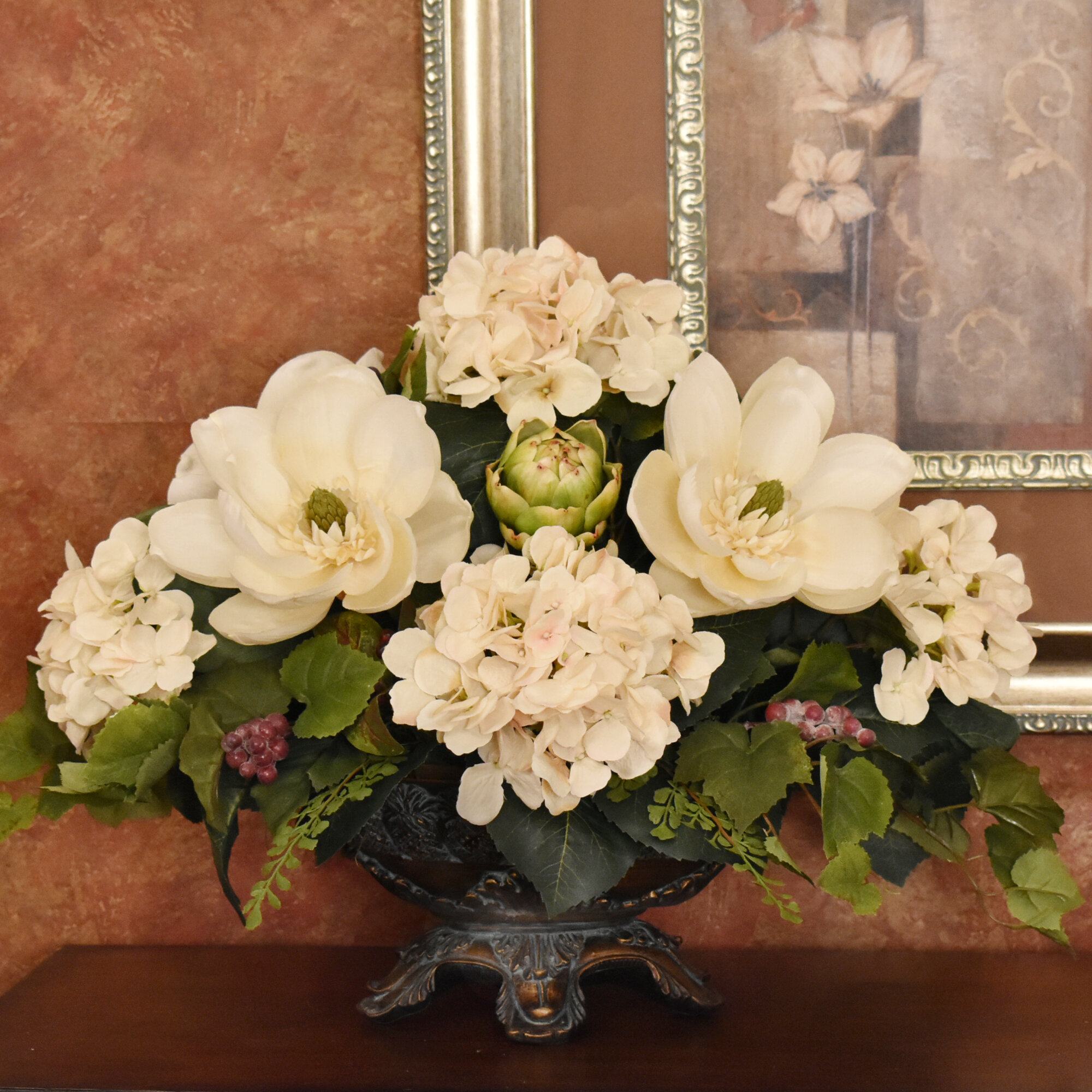 Floral Home Decor Cream Magnolia And Hydrangea Silk Floral Centerpiecein Embossed Oval Vase Reviews Wayfair