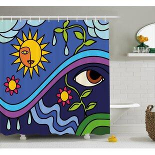 Celie Sunny Nature Flowers Single Shower Curtain