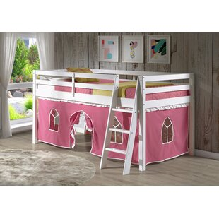 Gladwin Traditional Twin Low Loft Bed with Tent