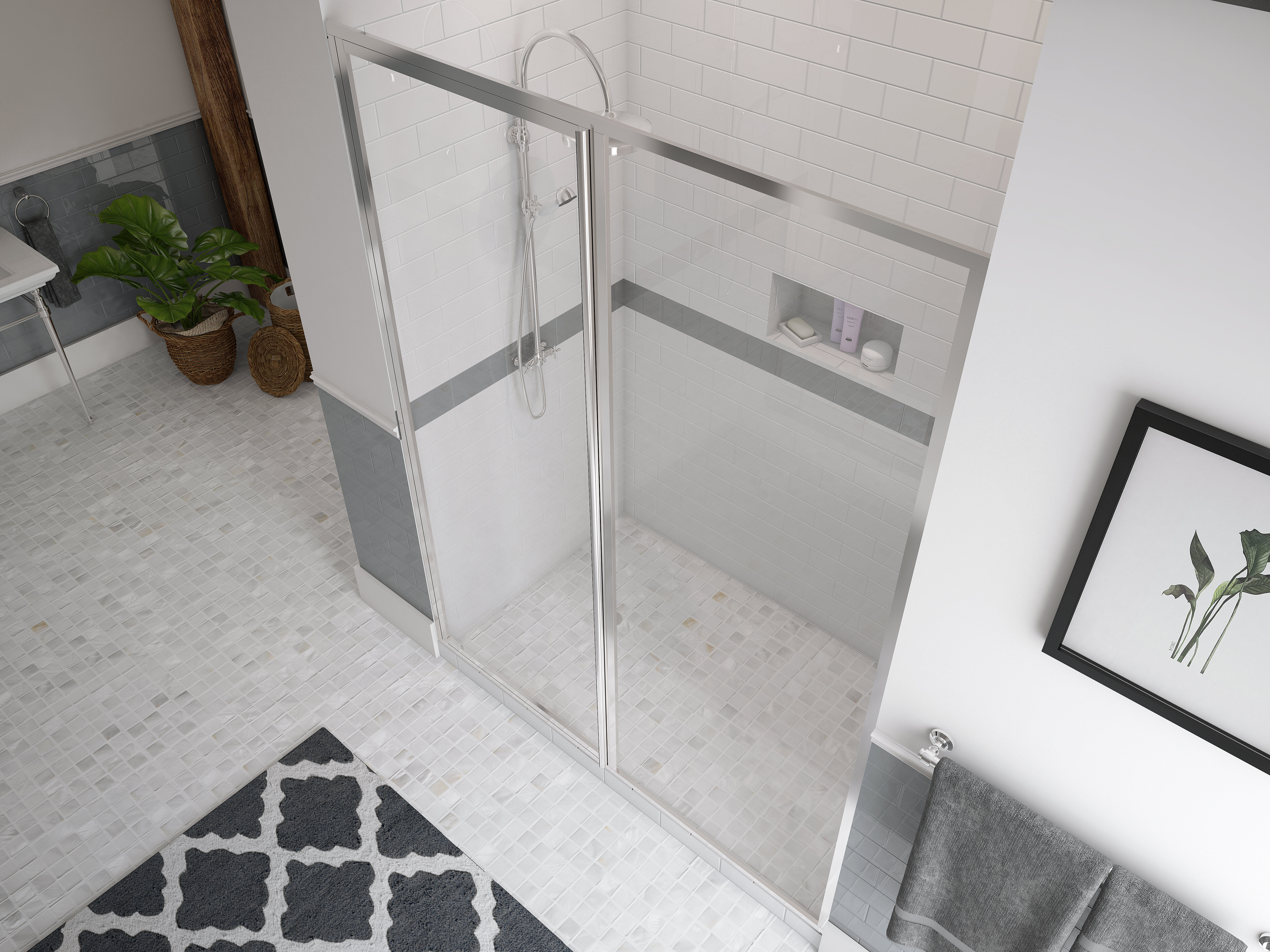 Legend Series Framed 48 X 69 Hinged Shower Door And Inline Panel