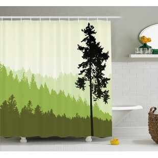 Azbane Nature Theme Pine Tree Silhouette on An Abstract Background Shower Curtain By World Menagerie