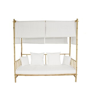 Eoin Bamboo Patio Daybed With Cushions And Canopy And Mattress By Bayou Breeze