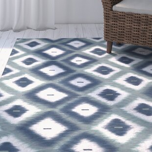 Dores Aqua Ikat Diamonds Indoor/Outdoor Area Rug