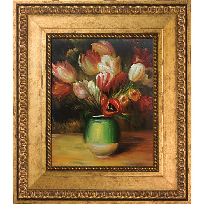 e2ee65b88 'Tulips in a Vase' by Pierre-Auguste Renoir Framed Oil Painting Print on  Canvas