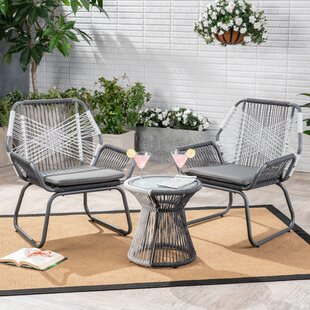 Duong Outdoor 3 Piece 2 Person Seating Group with Cushions