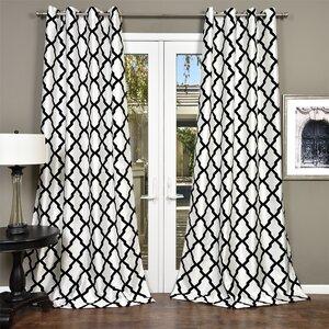 Trellis Bold Geometric Semi-Sheer Grommet Single Curtain Panel