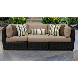 Mejia Wicker Patio Sofa with Cushions by Rosecliff Heights
