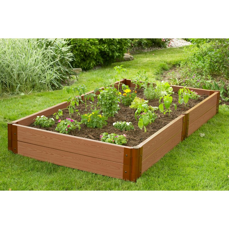 Frame It All Tool Free Classic Sienna Two Inch Series 4 Ft X 8 Ft Plastic Raised Garden Reviews Wayfair