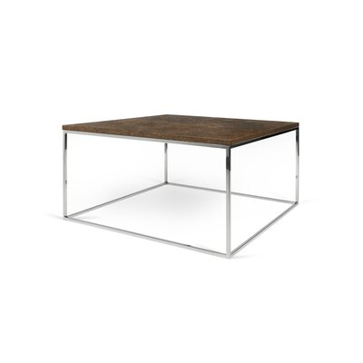 Brayden Studio Soltane Coffee Table Table Top Color: Rusty Look, Table Base Color: Chrome