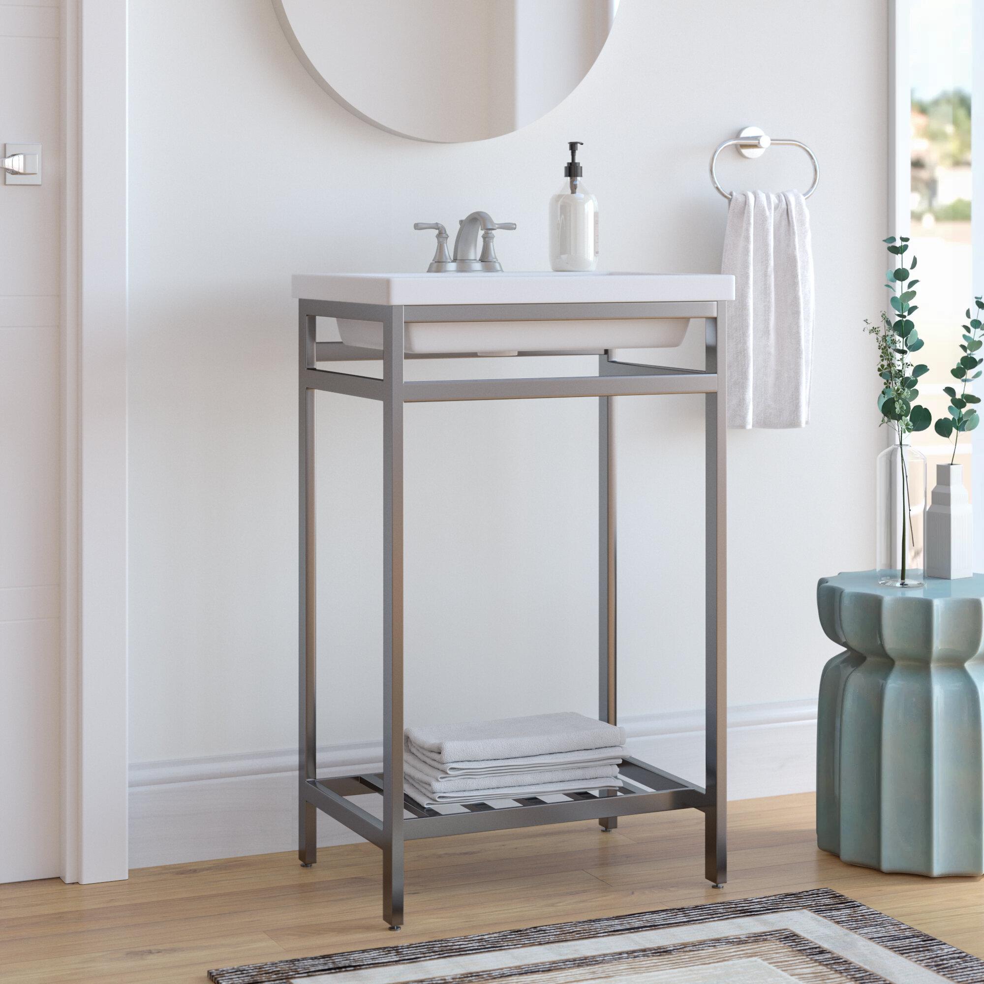 Ivy Bronx Arverne Stainless Steel Open Console 21 Single Bathroom Vanity Set Reviews Wayfair