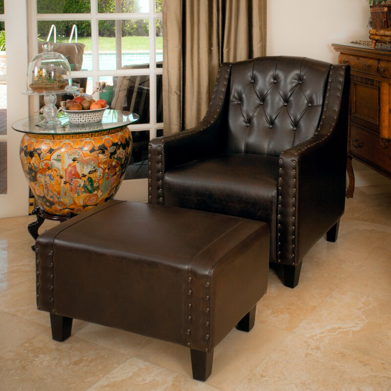 Awesome Chris Leather Club Chair And Ottoman