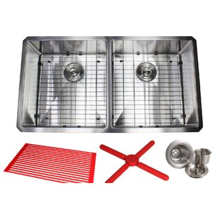 Ariel Premium Stainless Steel 37 L x 20 W Double Basin Undermount Kitchen Sink with Sink Grid and Drain Assembly