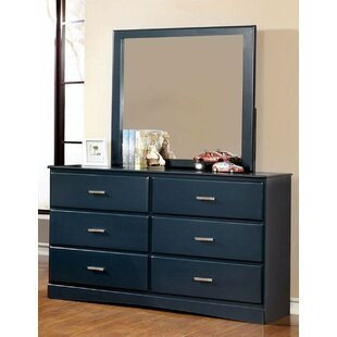 George 6 Drawer Double Dresser with Mirror