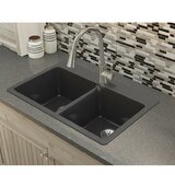 Quartz Luxe 33 L x 22 W Double Basin Drop-in Kitchen Sink