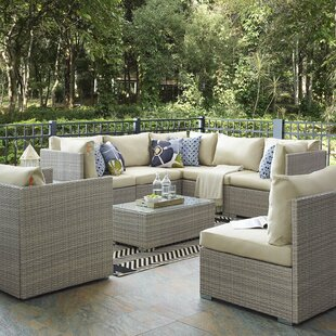 Heinrich 8 Piece Rattan Sunbrella? Sectional Set with Cushions by Highland Dunes