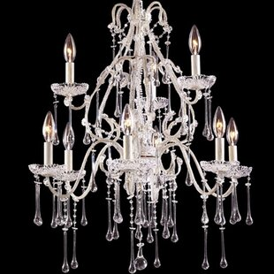 Rosdorf Park Driffield Traditional 9-Light Glass Candle Style Chandelier