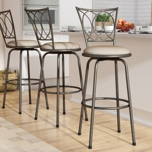 Temple Meads Light Brown Adjule Height Swivel Bar Stool Set Of 3