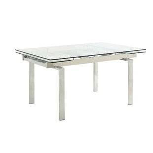Cornet Metal and Glass Contemporary Extendable Dining Table by Orren Ellis