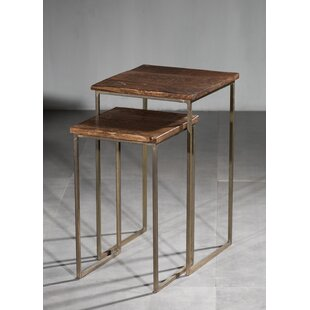 Price comparison Ettinger Wooden 2 Piece Nesting Tables by Union Rustic