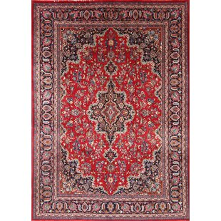 One-of-a-Kind Partridge Original Mashad Persian Hand-Knotted 7'11 x 11'3 Wool Burgundy/Blue/Beige Area Rug ByIsabelline