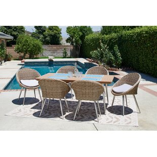 Corrigan Studio Chambless 7 Piece Patio Dining Set with Cushion