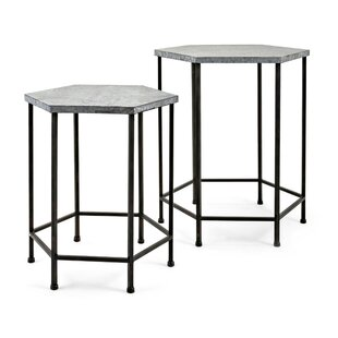 Rohrer Octagon Iron 2 Piece Nesting Tables