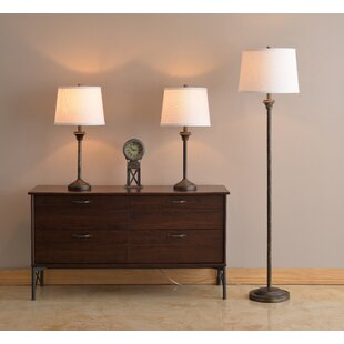 Foland 3 Piece Table and Floor Lamp Set