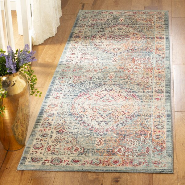 Bungalow Rose Doucet Cotton Navy Aqua Area Rug Wayfair