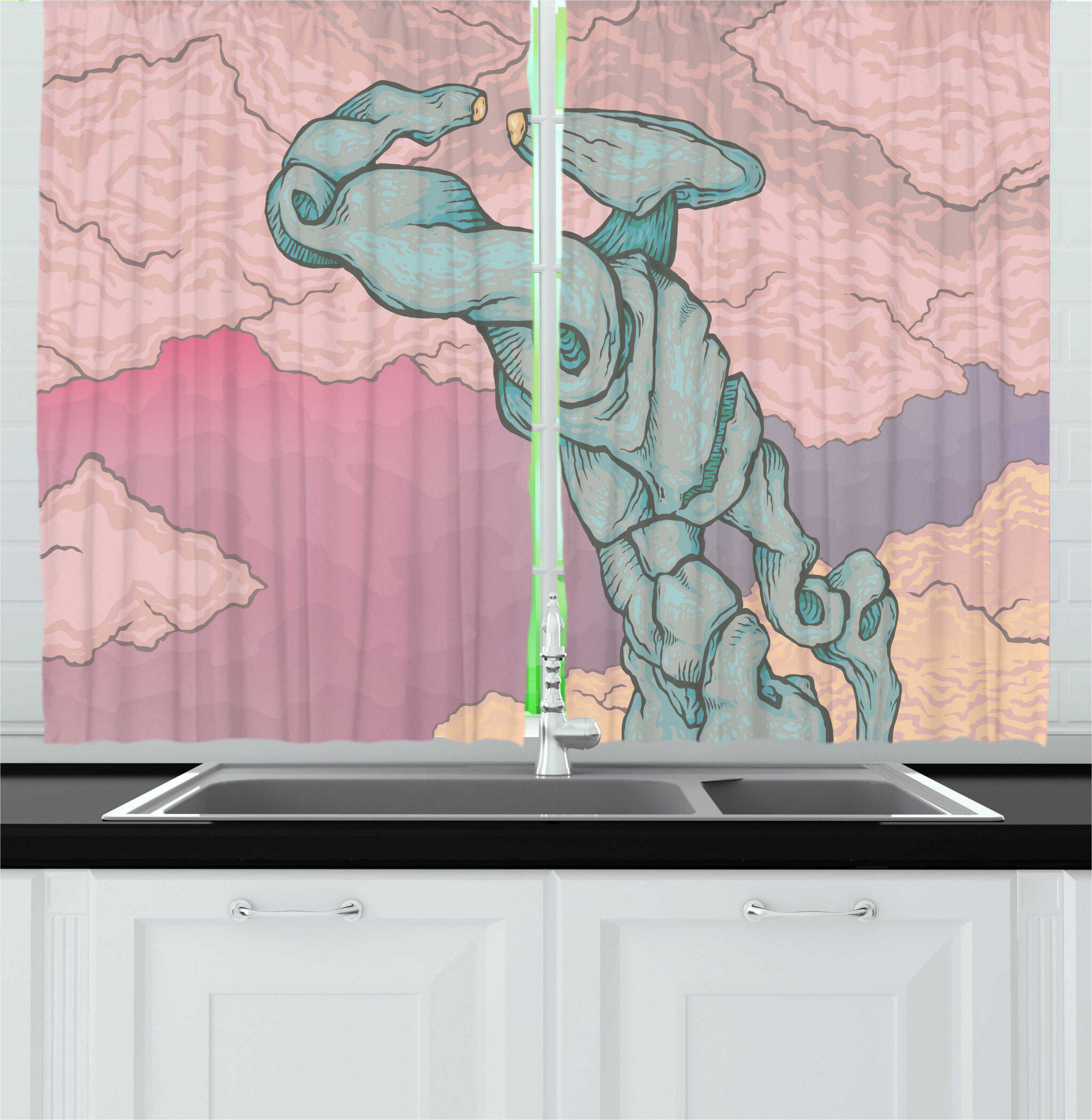 East Urban Home 2 Piece Blue And Pink Abstract Futuristic Artwork With Sci Fi Robot Drawing On Pastel Clouds Kitchen Curtain Set Wayfair