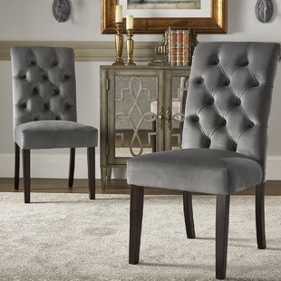Pompon Rolled Top Tufted Upholstered Dining Chair (Set of 2) Lark Manor