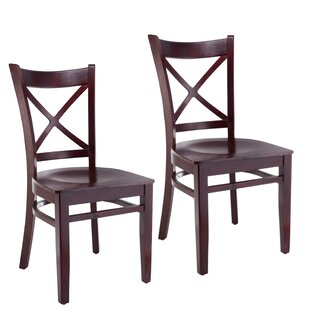 Helsel Cross Back Solid Wood Dining Chair (Set Of 2) by August Grove Amazing