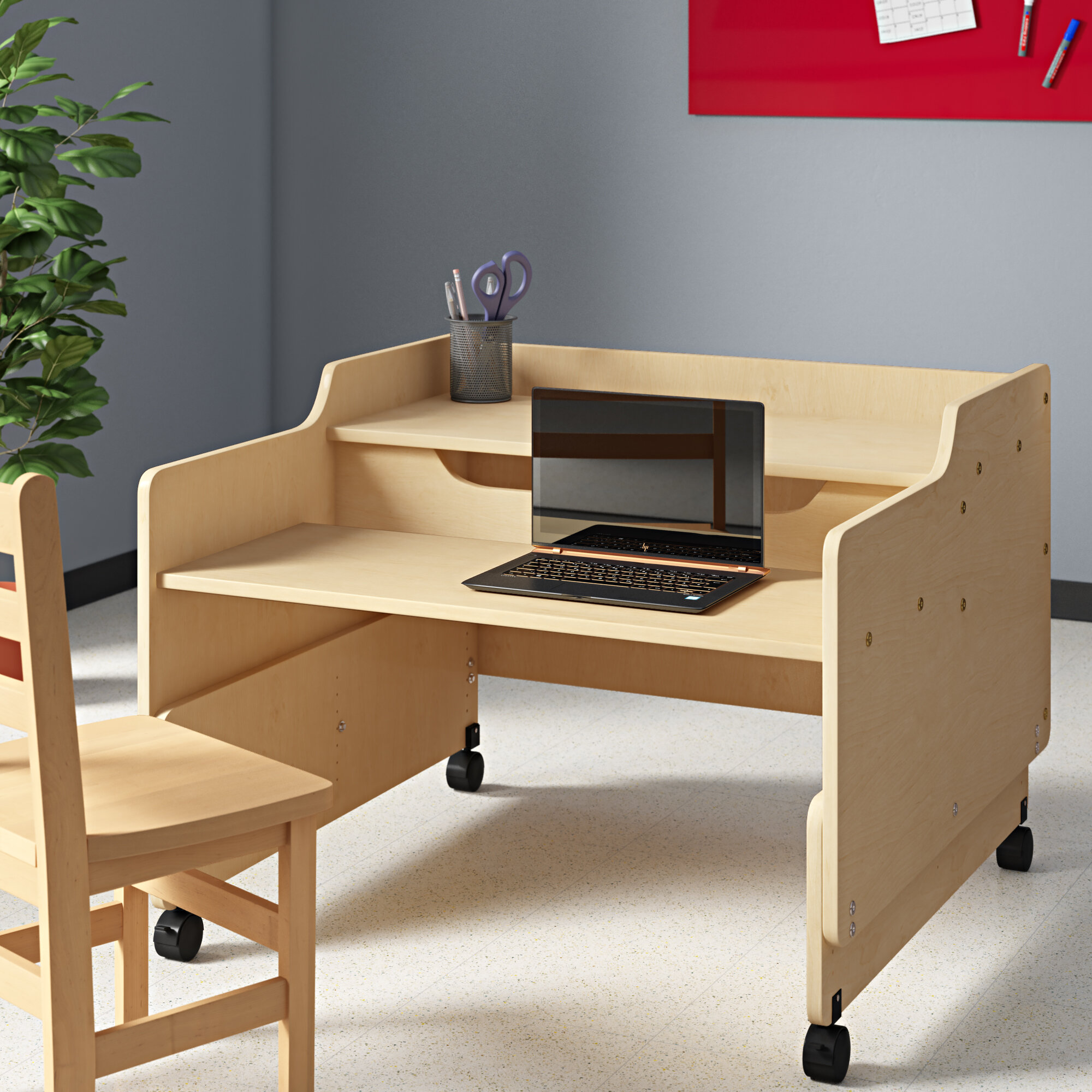 Wood Designs Contender Wood Adjustable Height Student Computer Desk Wayfair Ca