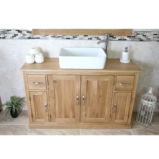 Eddy Solid Oak 123mm Free-Standing Vanity Unit By Gracie Oaks
