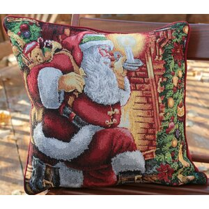 Down the Chimney Santa Claus Throw Pillow Cushion Cover (Set of 2)