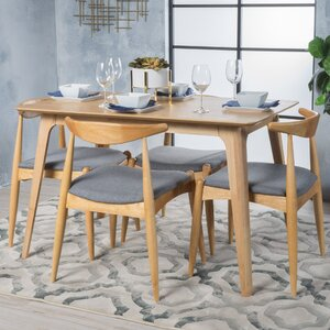 wood dining room tables.  Modern 5 Piece Dining Room Sets AllModern