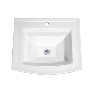 Compare prices Top Mount Vitreous Porcelain Rectangular Drop-In Bathroom Sink with Overflow By Soleil