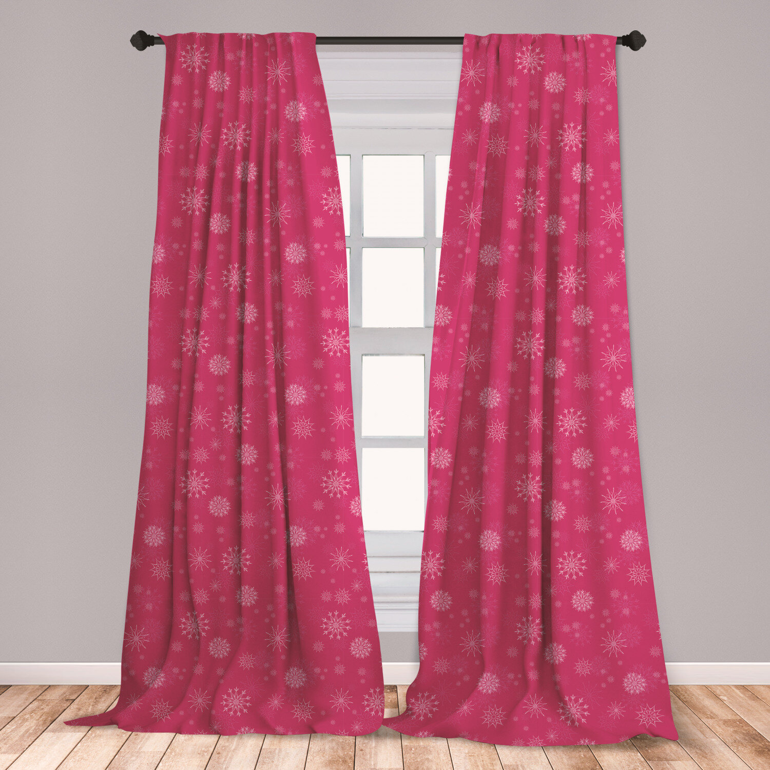 Ambesonne Winter Curtains, Gentle White Snowflakes On Pink Background Soft  Feminine Romantic Seasonal Pattern, Window Treatments 2 Panel Set For ...