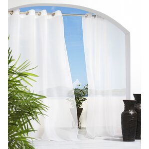 Odessa Solid Semi Sheer Outdoor Grommet Single Curtain Panel