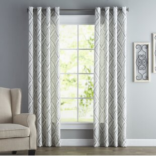 Bungalow Printed Etched Diamond Single Curtain Panel