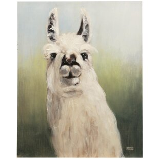 'Llama Headshot' Acrylic Painting Print on Canvas by August Grove